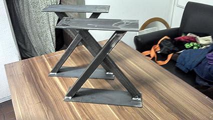 Patas de mesa de centro, para pies, serie maciza, modelo X en estilo industrial