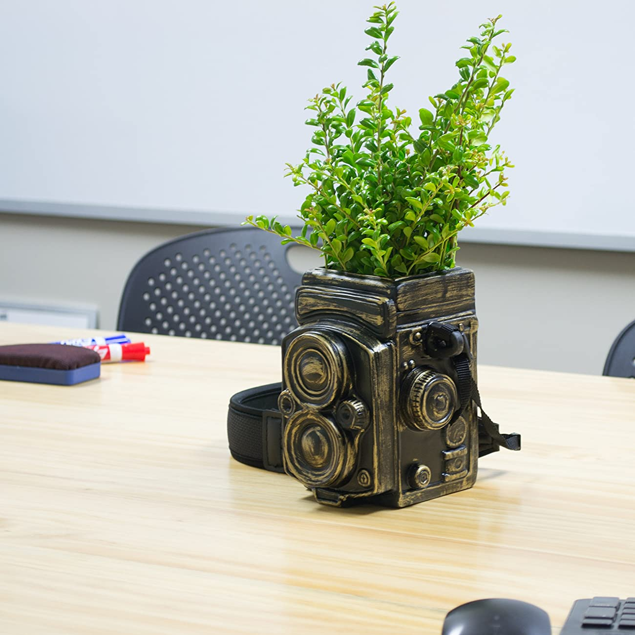 Vintage Camera Style Ceramic Decorative Vase / Planter w/ Strap, Brushed Bronze-Tone, by MyGift Home 3