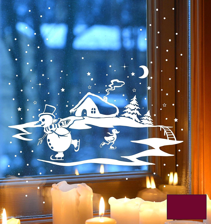 Fensterbild Fensterdeko Winterbild Schneemann und Ente die Schlittschuh fahren Winterhaus Tannen M1703 – ausgewählte Farbe: *Beere* – ausgewählte Größe: *XL – 60cm breit x 38cm hoch* online kaufen