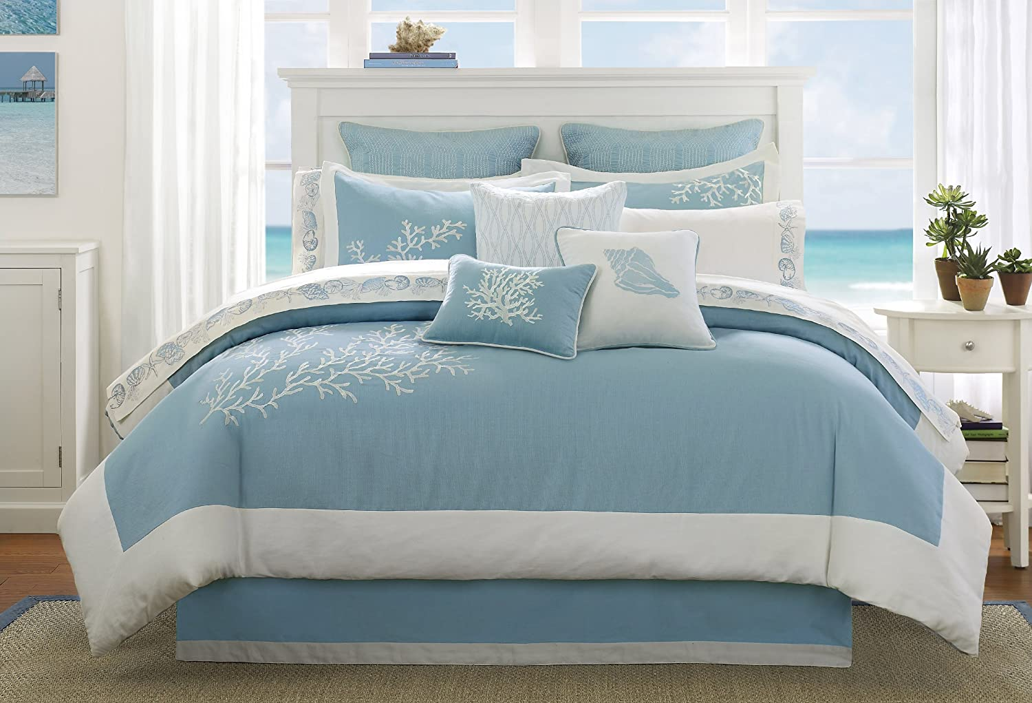 Blue and white bedding - Coastline Queen Comforter Set