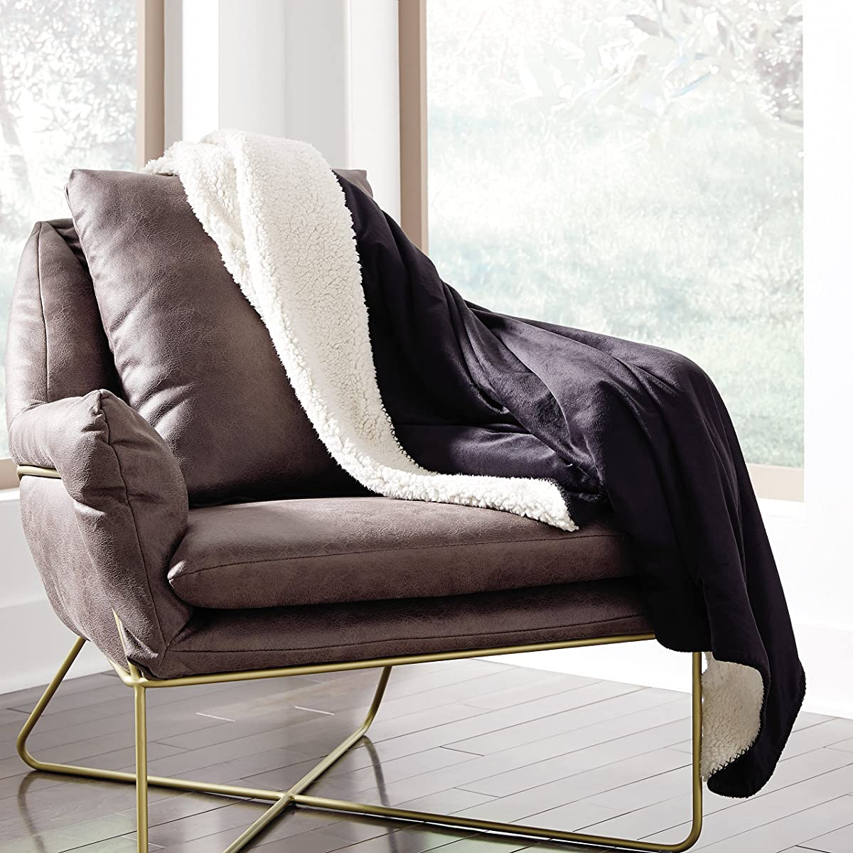 Ashley Furniture Signature Design - Crosshaven Accent Chair - Contemporary - Gray Faux Leather Loose Cushions - Gold Metallic Legs