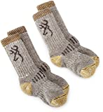 Browning Hosiery Unisex Child Uplander Merino Wool Kids Sock, 2 Pair Pack (Grey/Gold, Small)