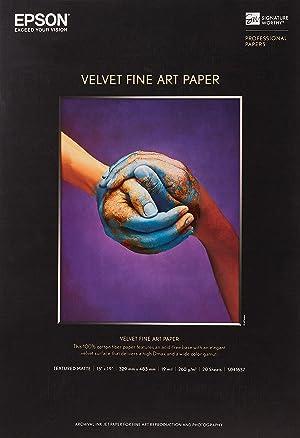 Epson S041637 Velvet Fine Art Paper, 13 x 19, White (Pack of 20 Sheets) (Color: White, Tamaño: 13 x 19 20 sheets)