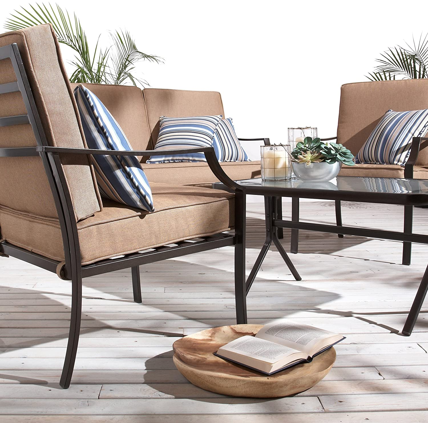New strathwood brentwood 4 piece outdoor furniture set for Outdoor furniture 4 piece