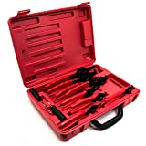 Bastex 11 piece Internal External Plier Set for Retaining Snap Ring and Circlip Removal Tools for Automobiles Lawnmowers and Farm Equipment Maintenance. Easy Push nut E Spiral an Split ring Removal. (Color: Black/Red)