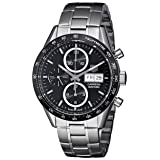 Tag Heuer Men's  'Carrera' Black Dial Stainless Steel Chronograph Watch CV201AG.BA0725 (Color: Black)