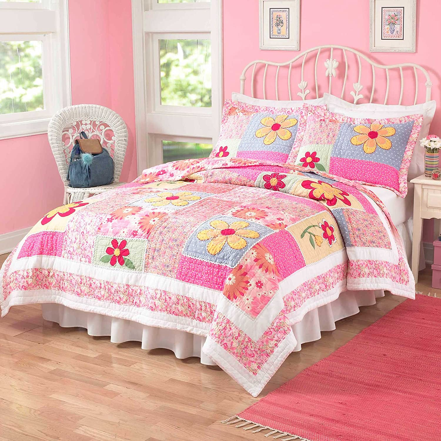 Olivia Pink Twin Quilt with Pillow Sham