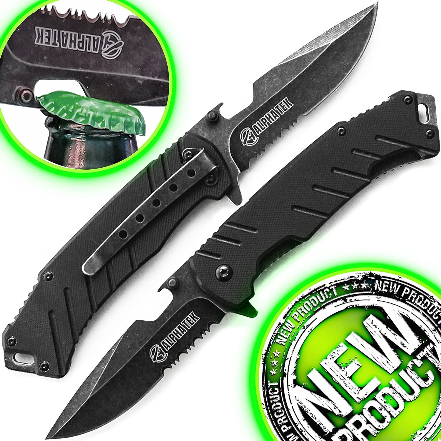 Spring Assisted Knife: Black Tactical Knife With Lightning Quick Deployment - BOTTLE OPENER - Black 440C SS Blade - G-10 Handle - Pocket Clip.