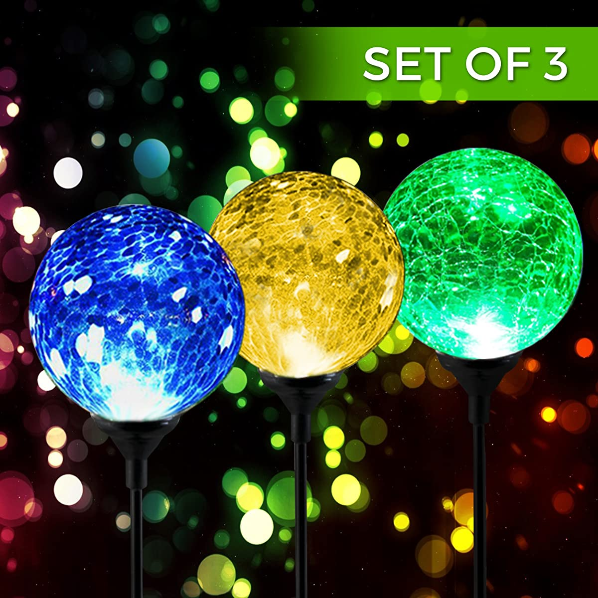 Solar Powered Crackle Glass Ball 7 Color Changing Stake