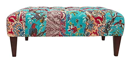 Kantha Teal and Red Square Bench