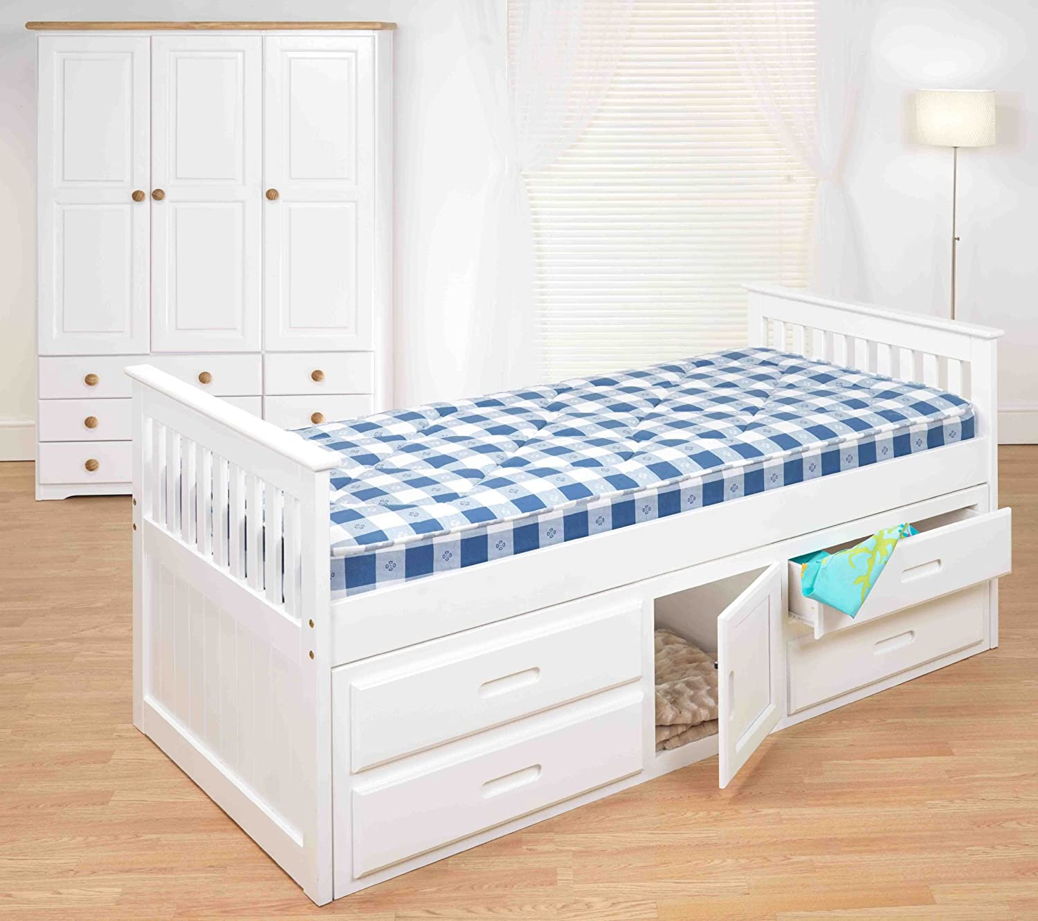 Kids beds 3ft pine captains bed with underbed 2 x for Kids white bed frame