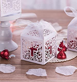 KAZIPA 50PCS Baptism Favor Boxes, 2.2''x2.2''x2.2''Laser Cut Favor Boxes with 50 Ribbons for Baby Shower Favors Baptism Decorations First Birthday Party (Color: Baptism Favor Boxes)