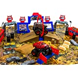 Big Monster Trucks Super Power 4x4 Power Climbers – 52-pieces Super Stunt Monster Stadium Arena Set – Race with 4x4 Super power Monster Trucks on Full Play Mat