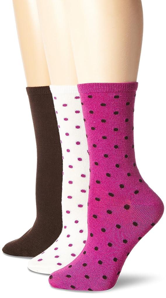 Steve Madden Legwear Women's Three-Pack Dot Crew Socks