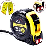 Measuring Tape Measure By Kutir - EASY TO READ 25 Foot BOTH SIDE DUAL RULER, Retractable, STURDY, Heavy Duty, MAGNETIC HOOK, Metric, Inches and Imperial Measurement, SHOCK ABSORBENT Solid Rubber Case (Color: Yellow, Black, Tamaño: 7.5 M / 25 Foot)