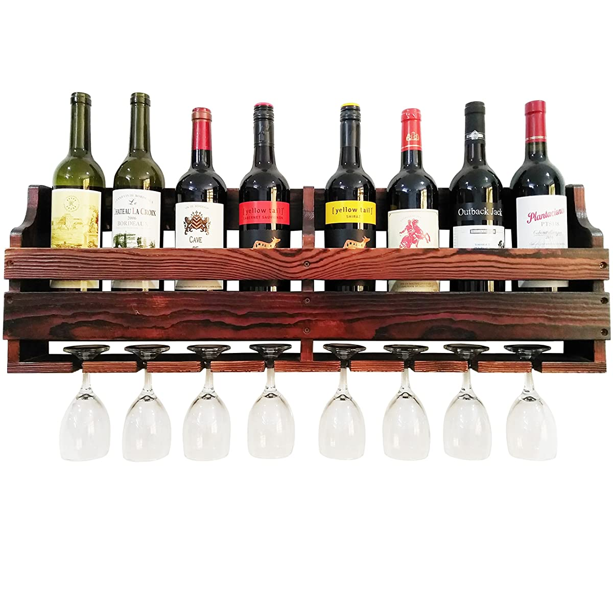 TUORUI Wine Rack Wall Mounted,Wine Glass & Wine Bottle Display Rack,pine wood,8 Bottle 8 Long Stem Glass Holder(Charcoal walnut color)