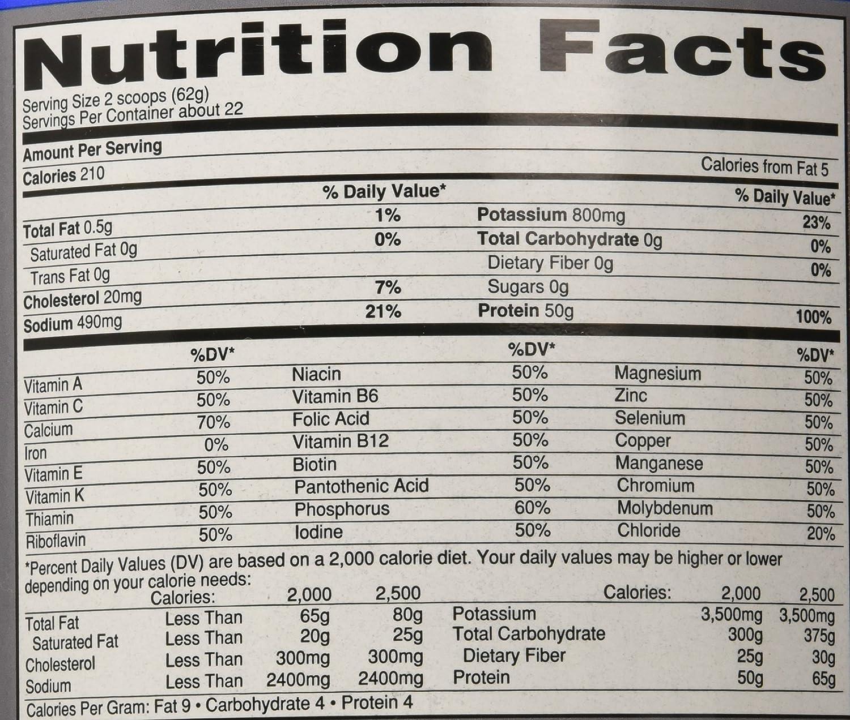 Isopure vanilla nutrition facts