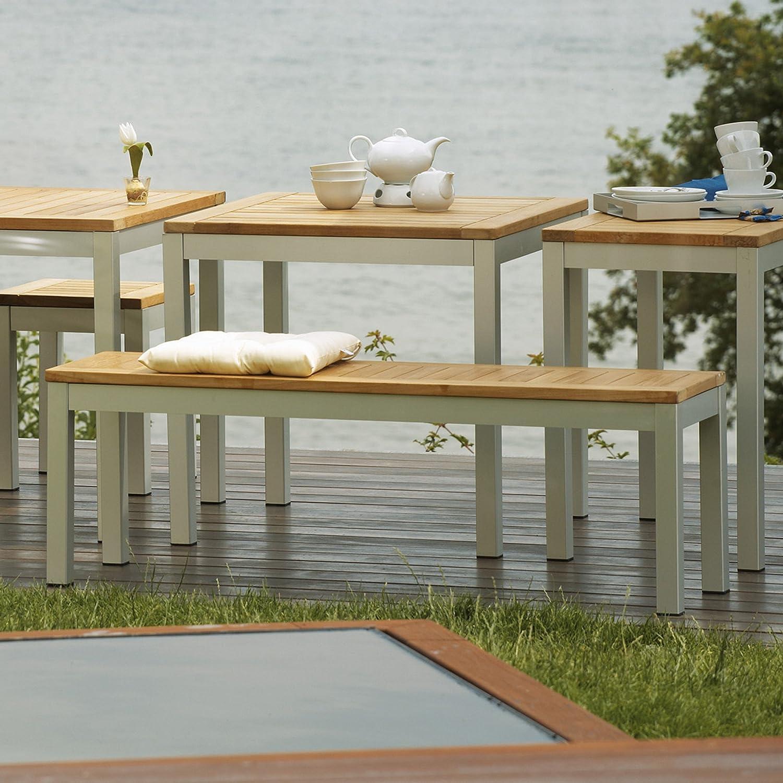 Quadrat Bank - Gestell Aluminium eloxiert / Platte Teak - 145 x 40 cm