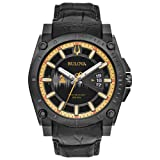 Bulova Men's Grammy Watch' Quartz Stainless Steel and Leather Casual, Color:Black (Model: 98B293) (Color: Black)