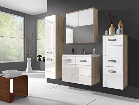 Fitted Bathroom Furniture ATRIA Matt San Remo Body/ High Gloss White Fronts