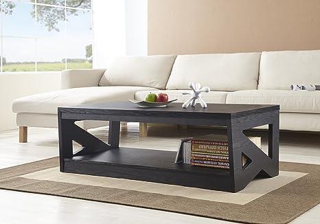 Furniture of America 1-Shelf Renee Rectangular Coffee Table, Black