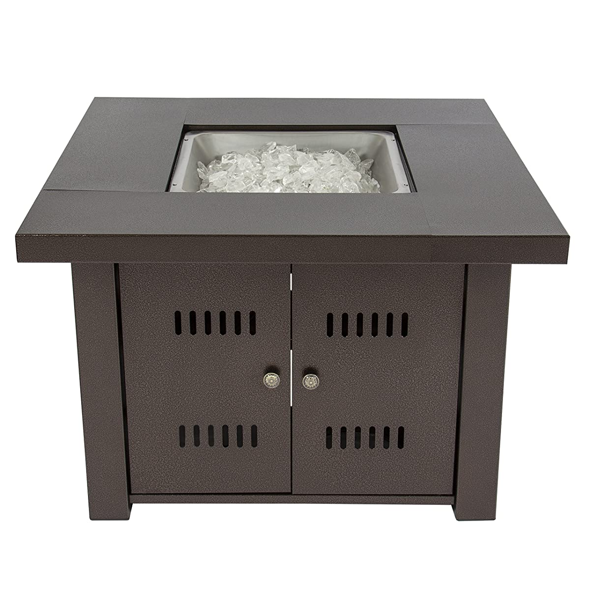 Gas Outdoor Fire Pit Table with Hammered-Antique-Bronze Finish and Fire Pit Cover Included