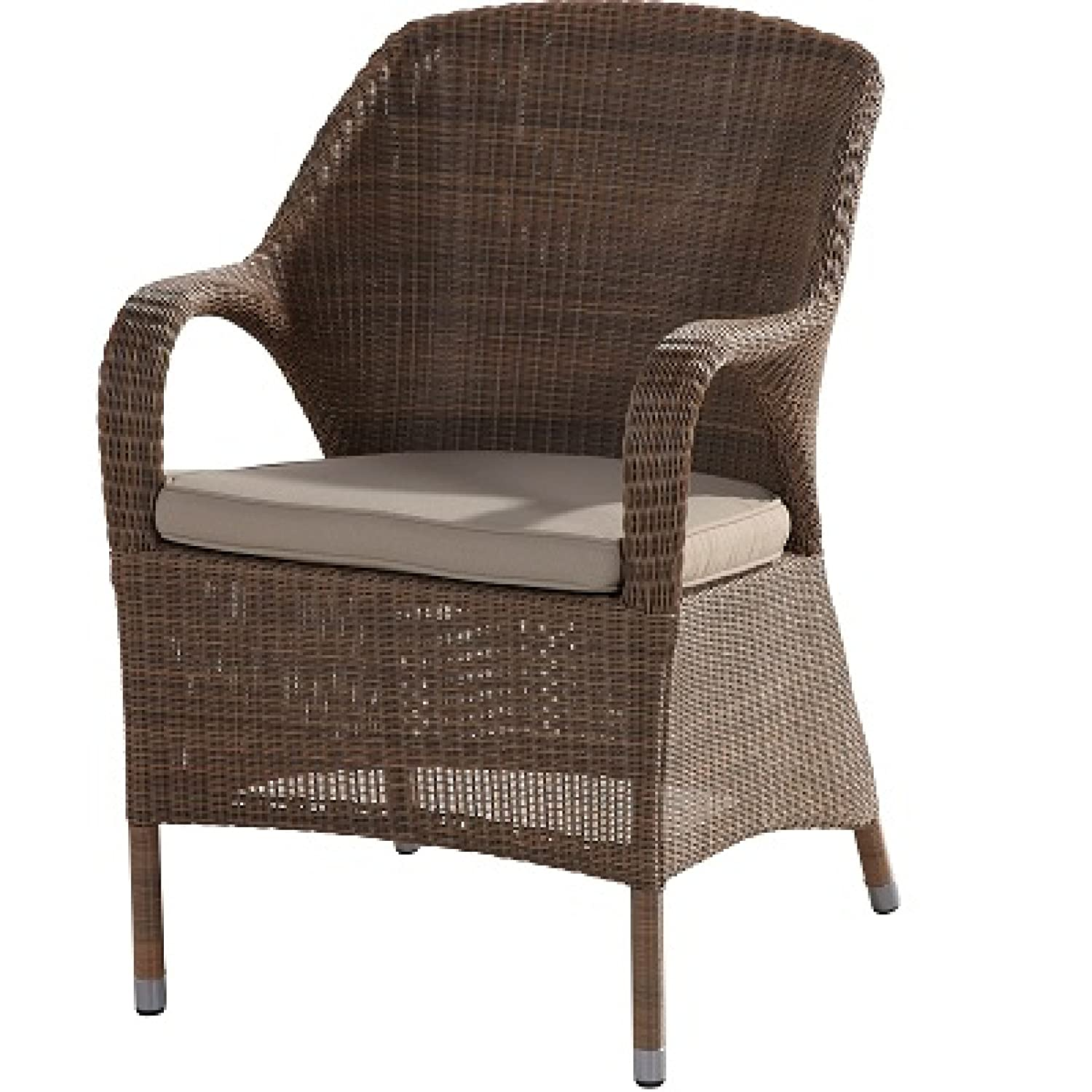 4Seasons Outdoor Sussex Dining Sessel Polyloom taupe wicker inkl. Sitzkissen