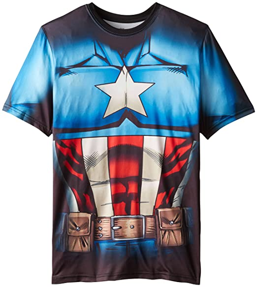 Marvel Captain America Men's Cappin Stance T-Shirt, White Sublimated, X-Large