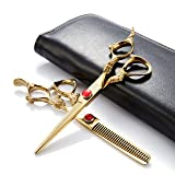 2pcs/Set Professional Edger 6 Inch Barber Hair Cutting Thinning Razor/Scissors/Shears Kit Sharp With Leather Case-Japan 440c Stainless Steel-Home or Hairdresser Use (Color: Gold, Tamaño: 6 inch)