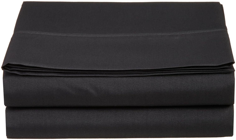 luxury queen flat sheet brushed microfiber black new. Black Bedroom Furniture Sets. Home Design Ideas
