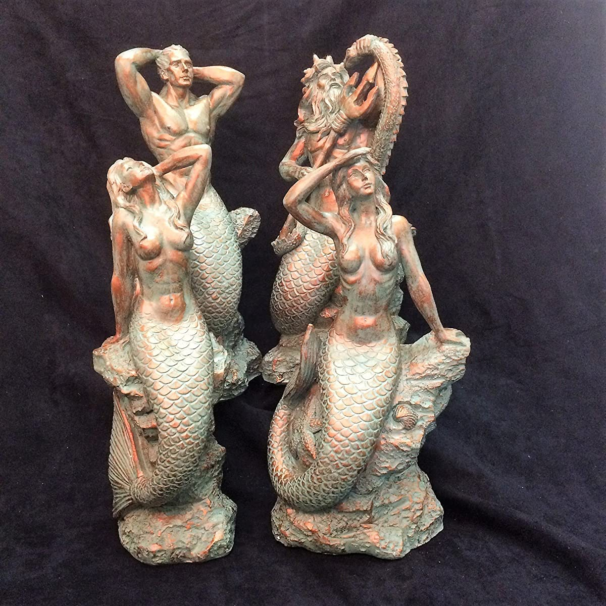 16 in. Sexy Mermaid Sitting on Nautical Rock Bronze Patina Finish Beach and Pool Statue