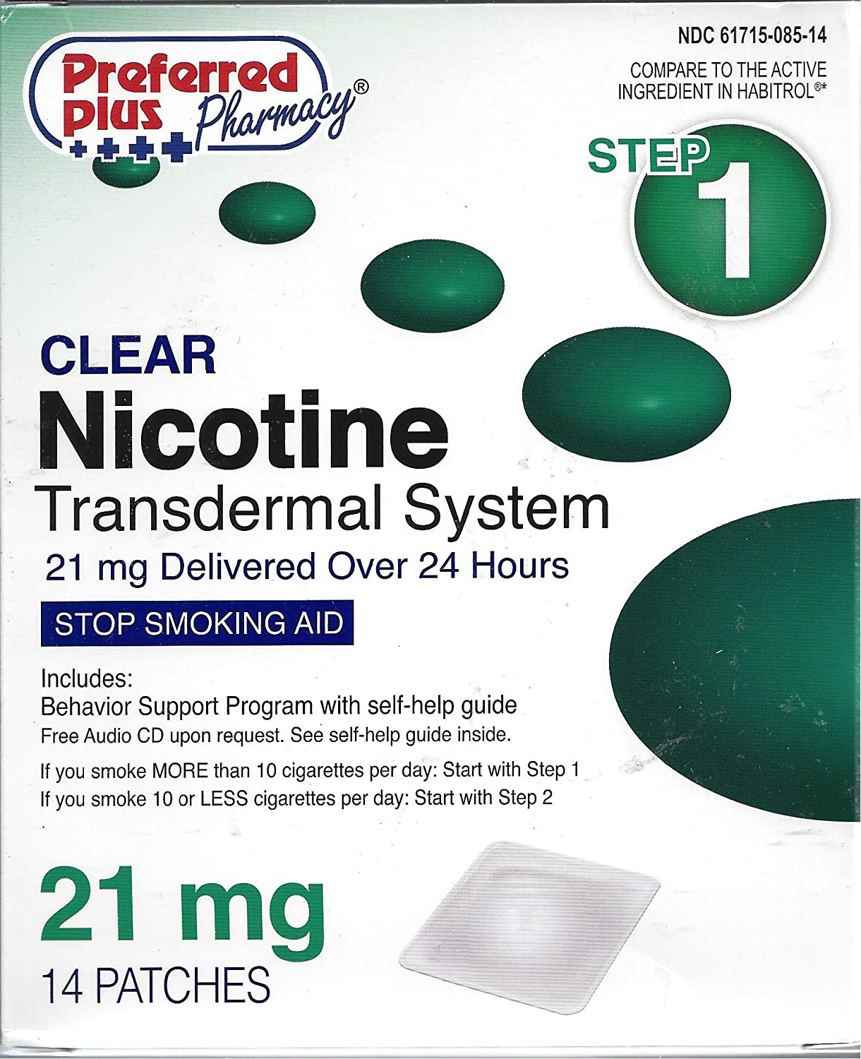 Equate nicotina transdérmica Sistema Paso 1, 21 mg Claro Patch, 14 parches.