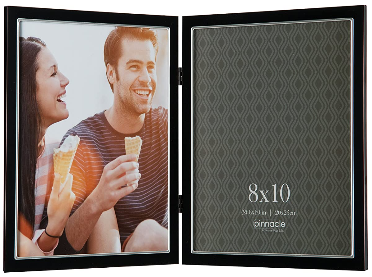 Pinnacle metal 8x10 double black and silver hinged picture frame jeuxipadfo Gallery