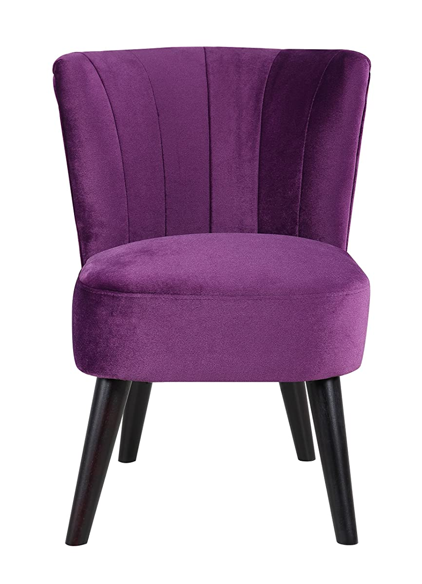 Divano Roma Furniture Classic and Traditional Living Room Velvet Fabric Accent Chair (Purple)