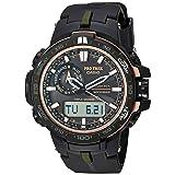 Casio Men's 'Pro Trek' Quartz Stainless Steel and Resin Sport Watch, Color Black (Model: PRW-S6000Y-1CR) (Color: Black/Orange)