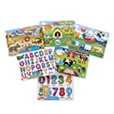 Melissa & Doug Wooden Peg Puzzle 6 Pack – Numbers, Letters, Animals, Vehicles