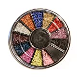 12 Colors Mini Ball Beads NAIL ART 3D Decoration In Wheel with Bonus Sample (Color: multi)
