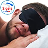 Sleeping Eye Mask with Gel - New 2018 Natural Soft Eye Cover with Hot and Cold Gels - Deep Sleep Relaxing - Fights Insomnia Migraine Headache Puffines