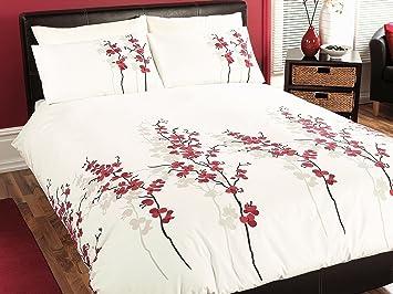 dreams 39 n 39 drapes oriental flower flower parure de lit 2 2 personnes rouge cuisine maison. Black Bedroom Furniture Sets. Home Design Ideas