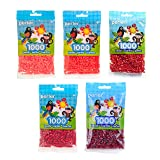 Perler Beads Bundle of 1000 Beads Bags - Hot Coral + Tomato + Red + Cherry + Cranapple