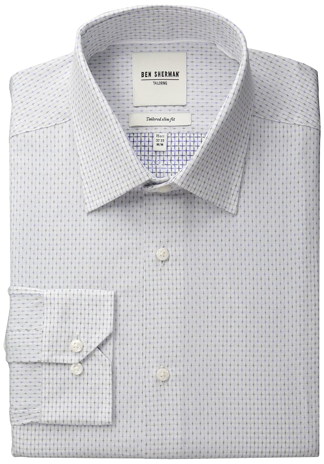 Ben Sherman Men's Blue and White Dobby Check