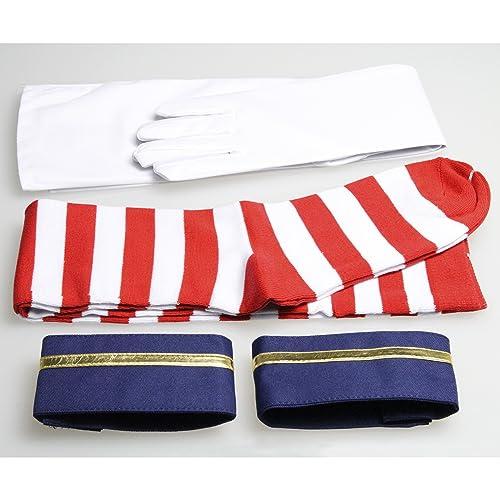 艦隊これくしょん 島風 コスチューム (11点セット カチューシャ + セーラー服 + スカート + リボン + 袖 + 手袋 + ロング靴下 + Tバック + 耐熱ウィッグ + ウィッグスタンド + ウィッグネット) レディス Lサイズ c239