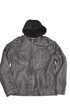 Wantdo Men's Fashion Faux Jackets Pu Leather Jackets With Removable Hood With Gift Mens Light Grey Premium Faux