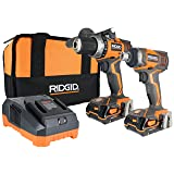 Ridgid X4 R9602 18V Lithium Ion Cordless Drill and Impact Driver Combo Kit with Soft-Sided Tool Case (2 Tools, 2 Compact Batteries, Charger, and Bag Included)