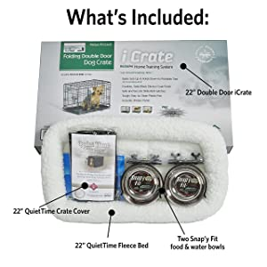 iCrate Dog Crate Starter Kit, 22-Inch Dog Crate Kit Ideal for XS DOG BREEDS Weighing Up to 12 Pounds, Includes Dog Crate, Pet Bed, 2 Dog Bowls & Dog Crate Cover, 1-YEAR MIDWEST QUALITY GUARANTEE (Color: Black, Tamaño: 22-Inch Kit   XS Dog Breed)