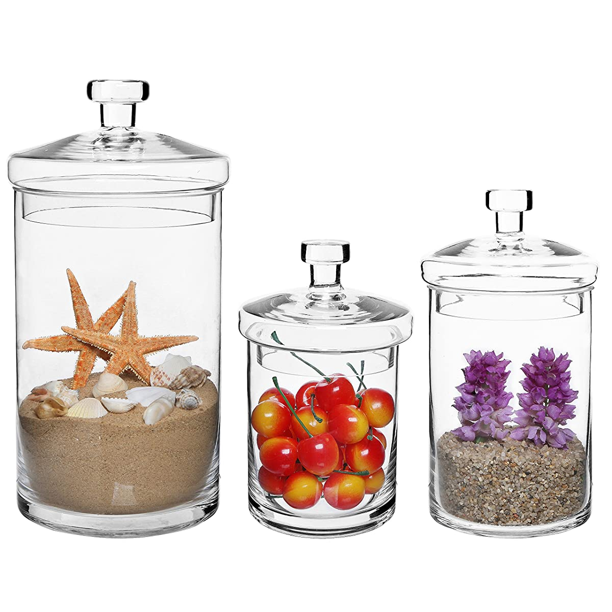 Set Of 3 Clear Glass Kitchen & Bath Storage Canisters