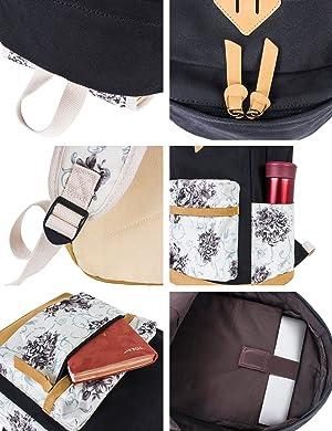 Leaper Backpack for Girls Floral College Bookbags Shoulder Bag Pencil Cases (Color: Black[8891,3PCS], Tamaño: Large)