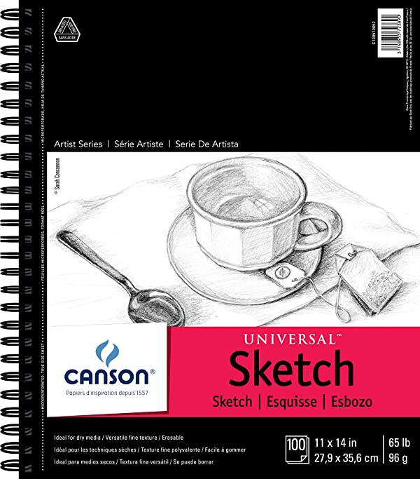 Canson Universal Sketch Pad, Side Wire Bound, 11 x 14 (Color: White, Tamaño: 11 x 14)