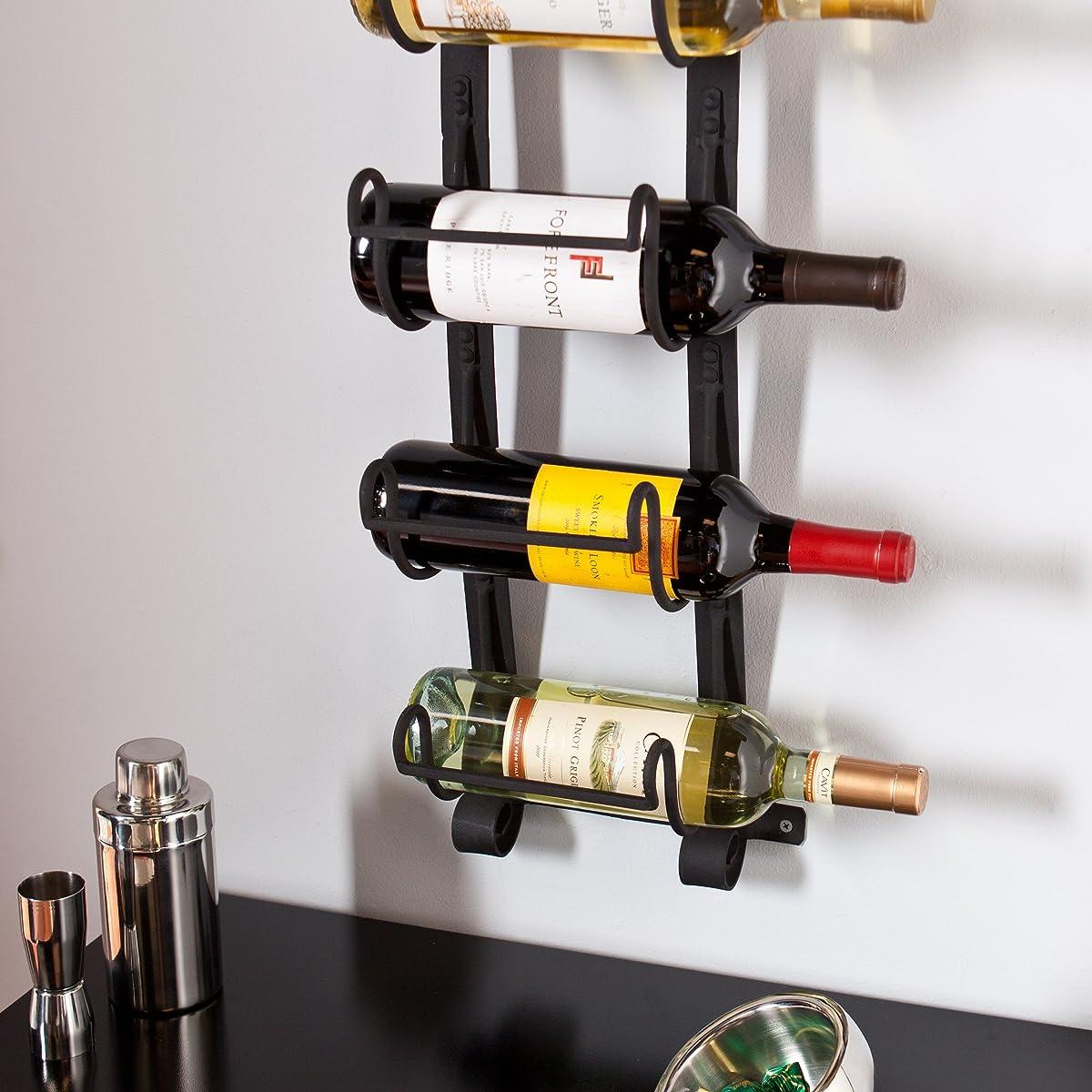 SEI Southern Enterprises Ancona 5 Wine Bottle Wall Mount Rack, Natural Wrought Iron Finish
