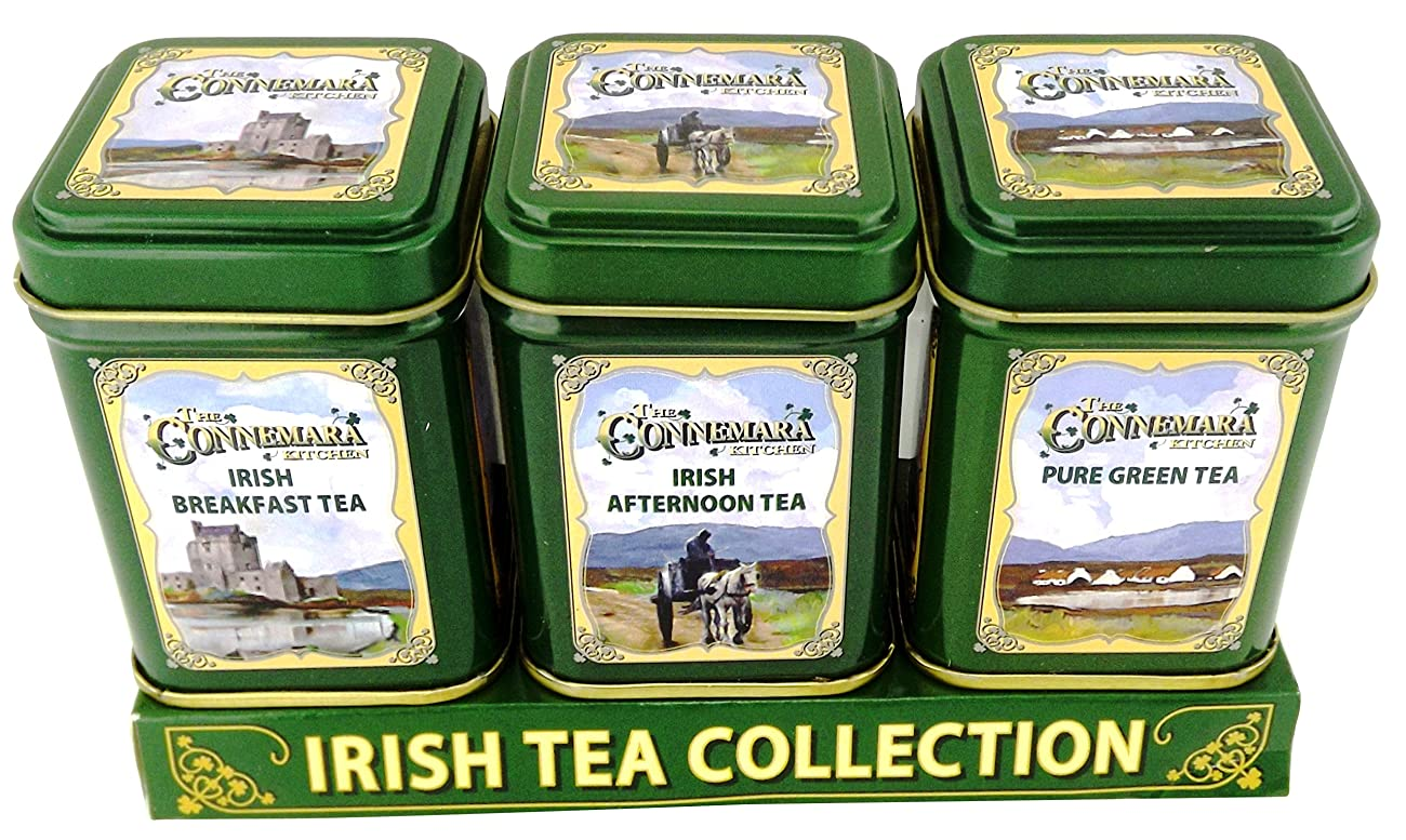 The Connemara Kitchen Set Of Tin Tea, Breakfast,Afternoon & Green Tea 0